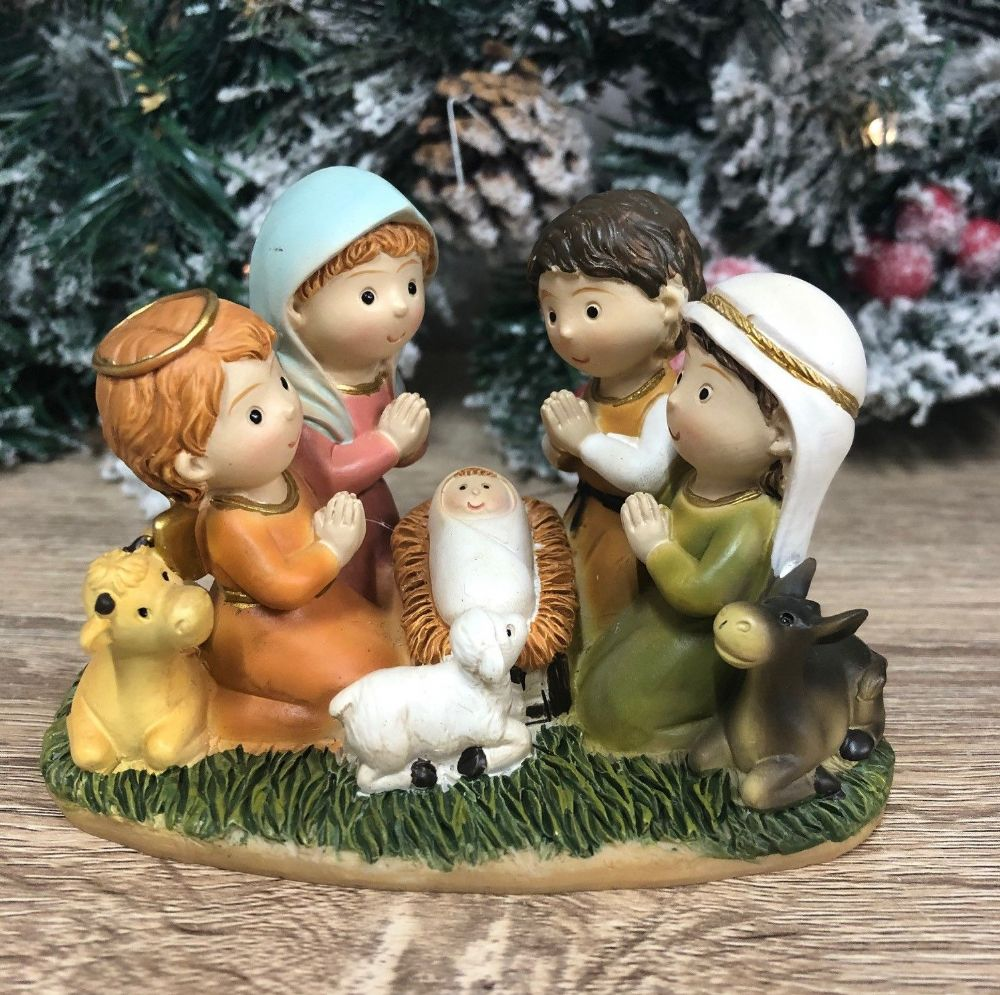 Children's Nativity Scene Christmas Advent Candle Holder Ornament